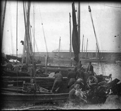 fifie and zulus boats in wick harbour